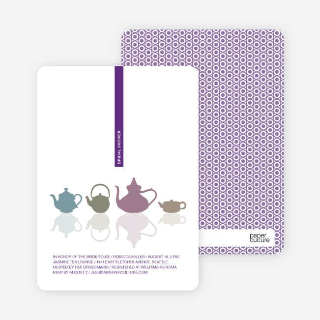 Invitations for Bridal Shower Tea - Grape
