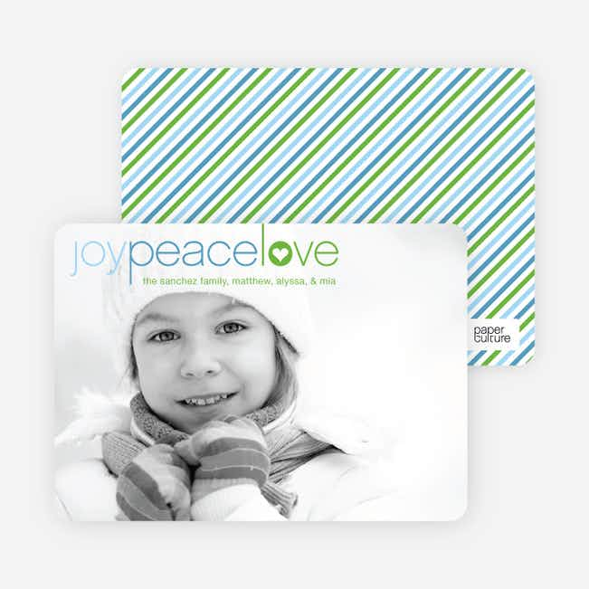 Joy Peace Love Christmas and Holiday Cards - Periwinkle Blue