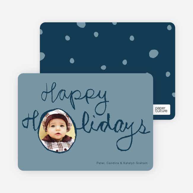 Kiddie Script Happy Holidays Photo Cards - Blueberry