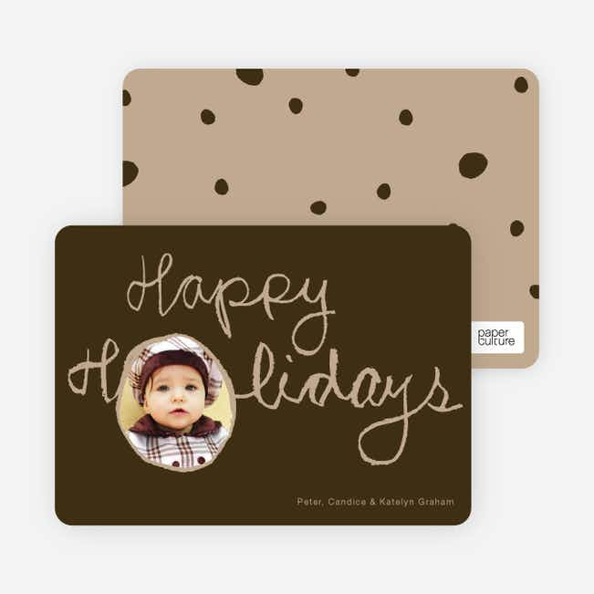 Kiddie Script Happy Holidays Photo Cards - Espresso