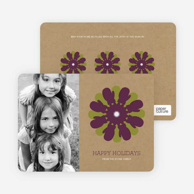 Mitten Snowflake Holiday Photo Card - Grape