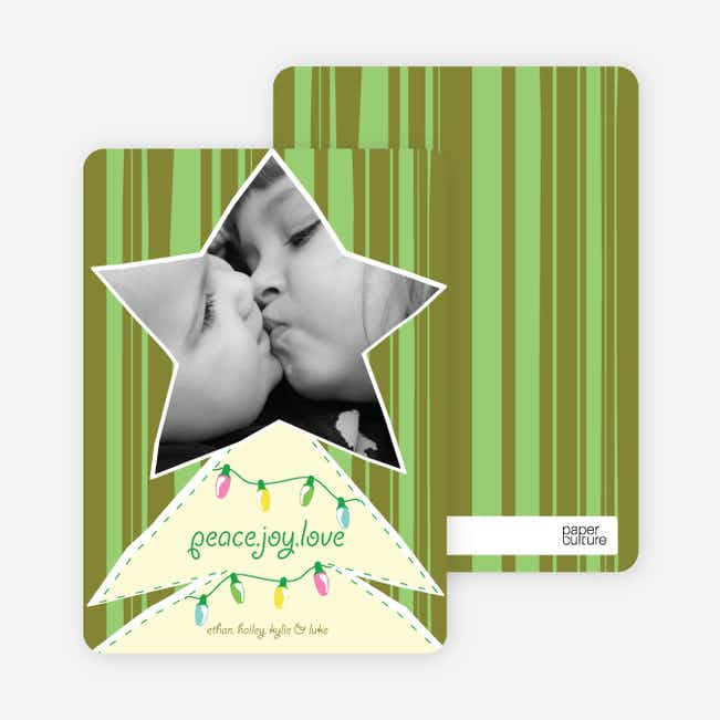 Modern Christmas Tree Photo Card - Olive Green