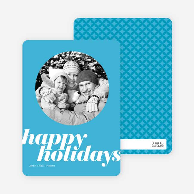 Modern Happy Holidays Photo Card - Baby Blue
