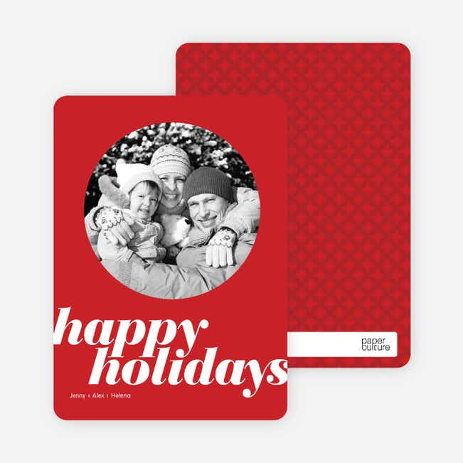 Modern Happy Holidays Photo Card - Punch