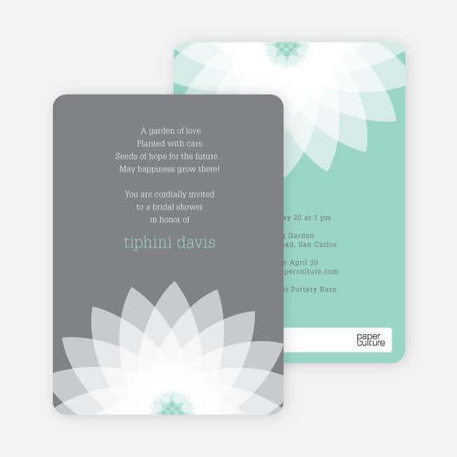 Modern Lily Lotus Bridal Shower Invitations - Blue