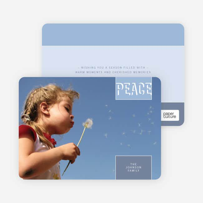Modern Peace Holiday Photo Cards - Celestial Blue