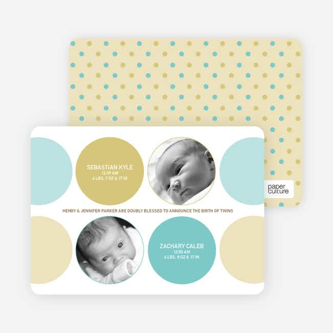 Modern Twin Birth Announcements with 2 Photos - Turquoise