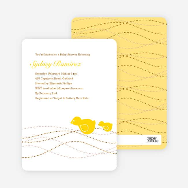 Momma and Baby Shower Invitations - Yellow