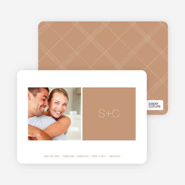 Monogram Save the Date Cards - Latte