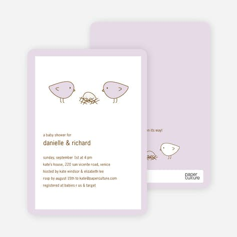 Girl baby shower invitations paper culture nesting birds baby shower invitation light lavender filmwisefo