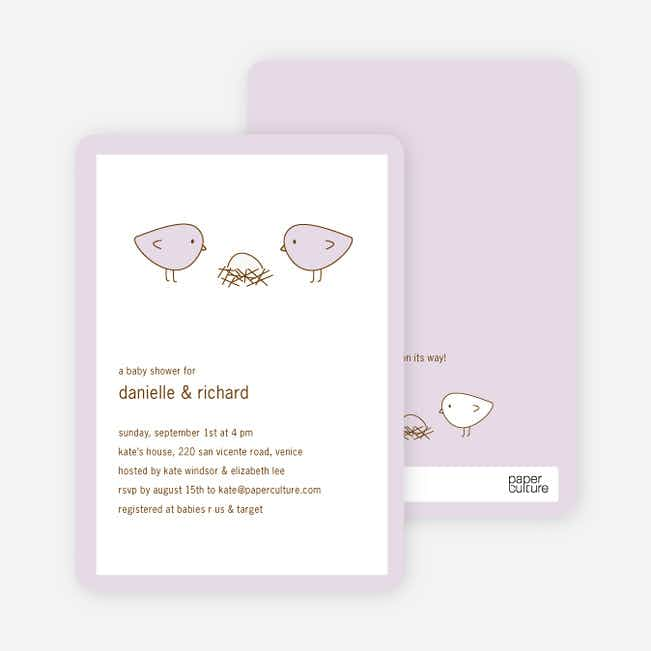 Nesting Birds Baby Shower Invitation - Light Lavender
