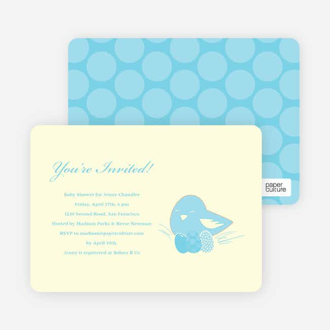 Nesting Mother Baby Shower Invitations - Baby Blue