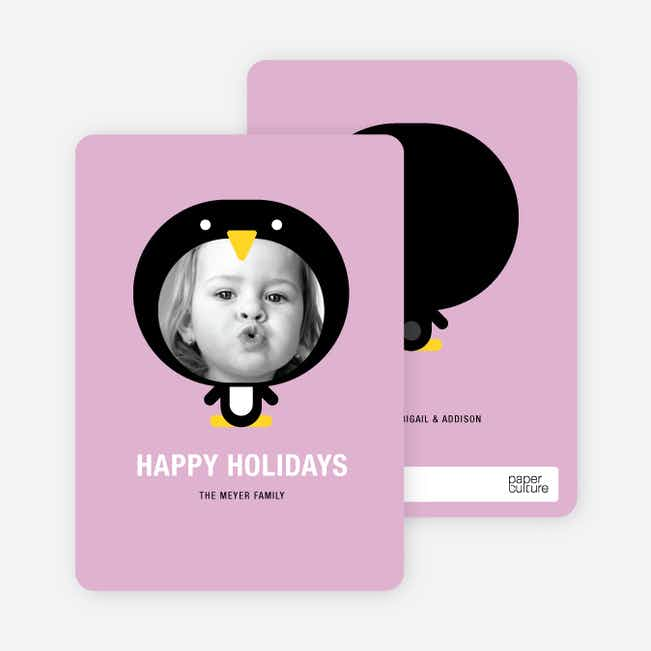 Penguin Face Holiday Cards - Wisteria