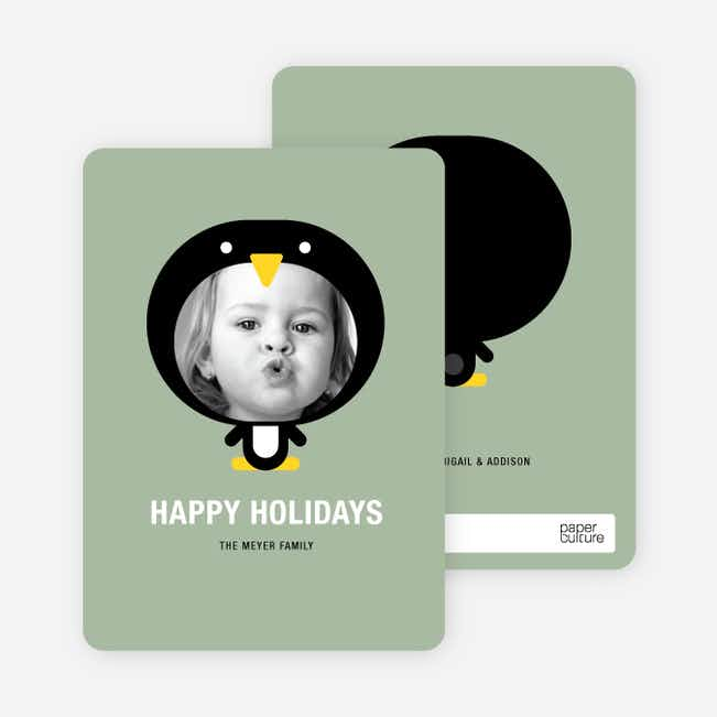 Penguin Face Holiday Cards - Sage