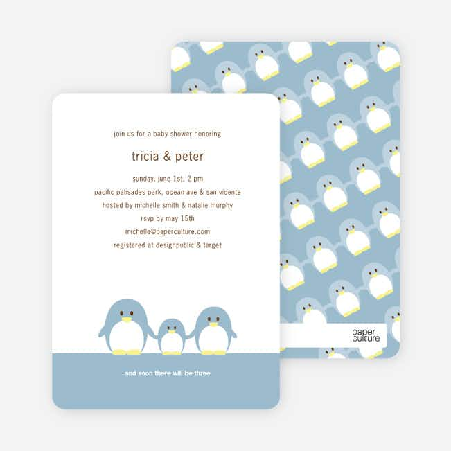 Penguin Family Baby Shower Invitations - Dusty Blue