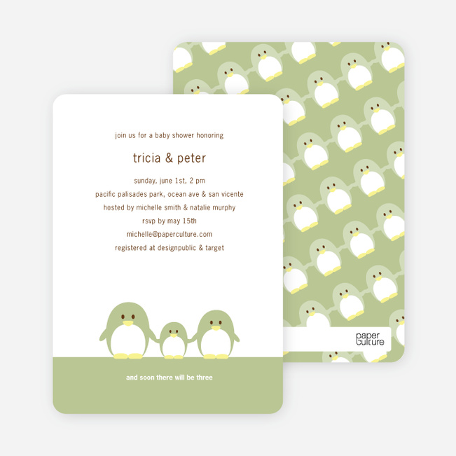 Family Baby Shower Invitations: Penguin Family Baby Shower Invitations