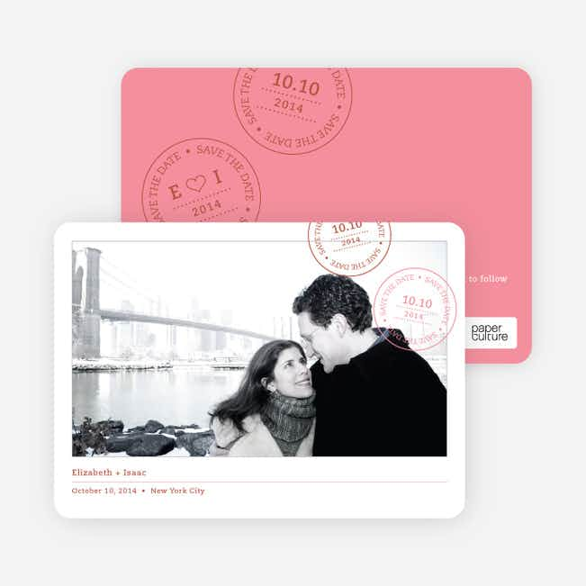 Postcard Inspired Save the Date Cards - Carnation