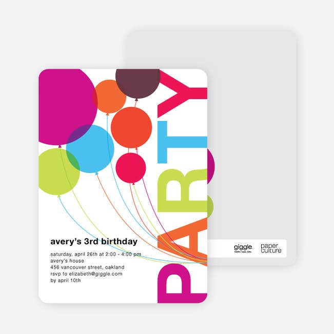 Rainbow Balloons Birthday Party Invitations