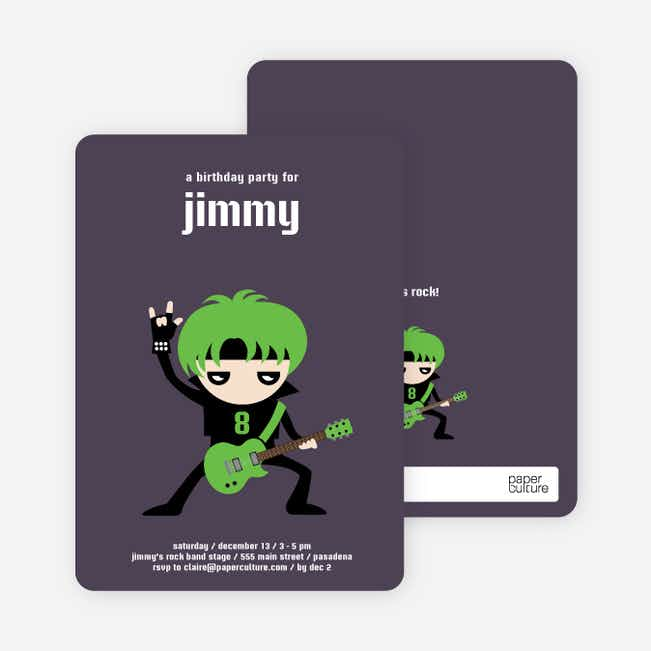 Rock Band Party Invitations - Green Guitar