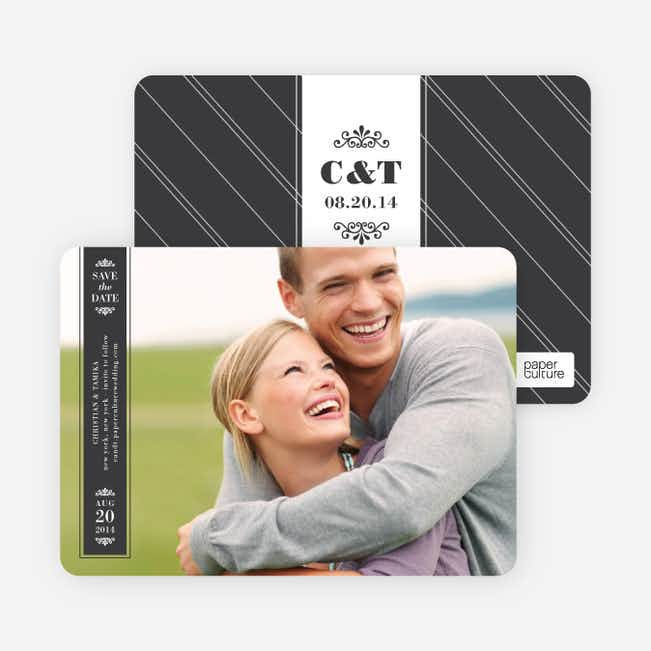 Save the Date Banner Cards - Charcoal