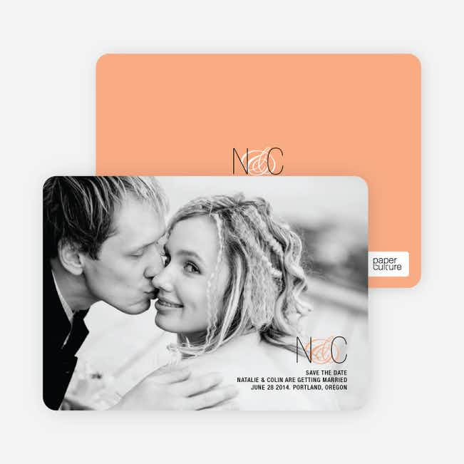 Save the Date Cards Featuring a Modern Ampersand Design - Apricot
