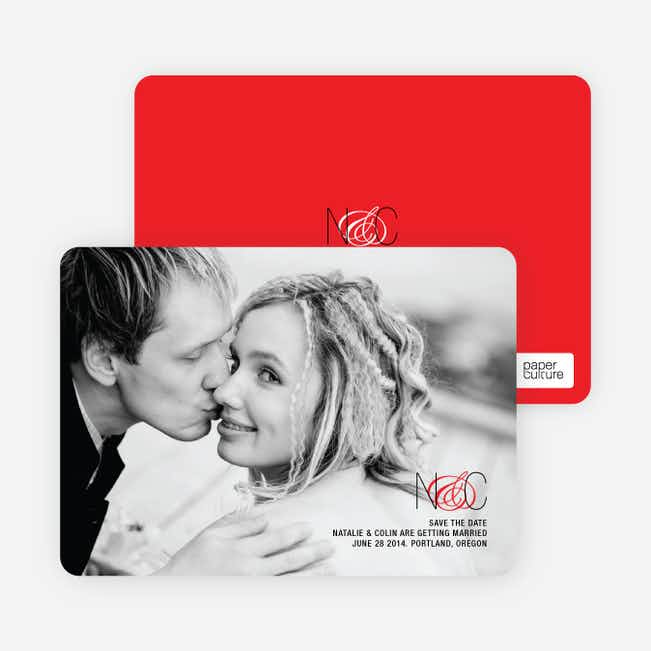 Save the Date Cards Featuring a Modern Ampersand Design - Tomato Red