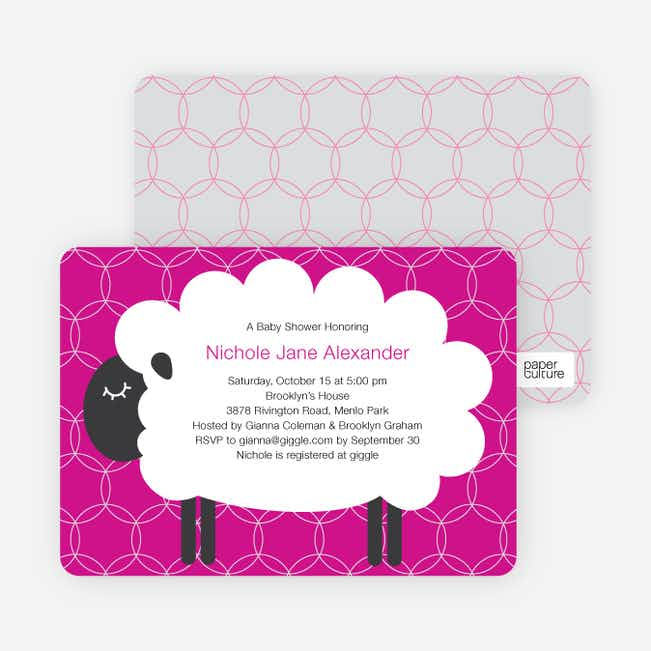 Sheep Themed Baby Shower Invitations - Fuchsia