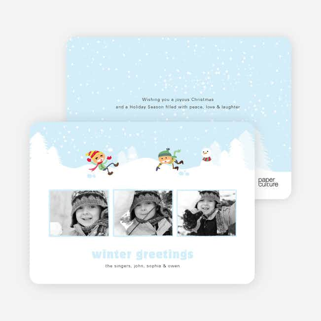 Snoball Fight Holiday Photo Card - Arctic Blue