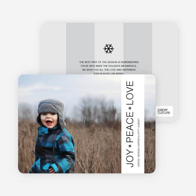 Snowflake Banner Holiday Photo Cards - White