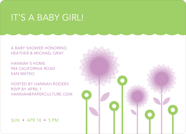 Spirograph Flower Baby Shower Invitation - Lavender