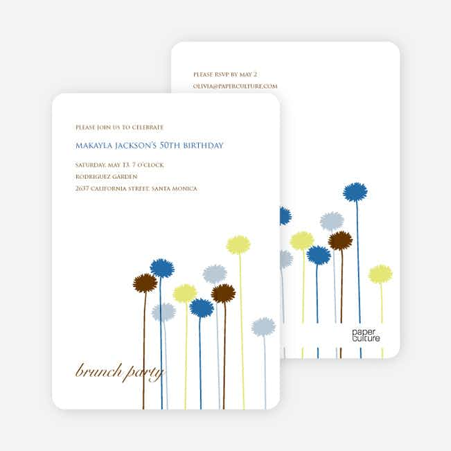 Spring Forward Flower Invitation and Announcement - Forest Green