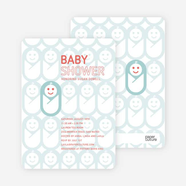 Swaddle Me This Baby Shower Invitations - Misty Blue