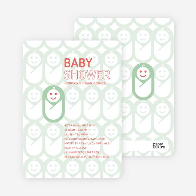 Swaddle Me This Baby Shower Invitations - Sage