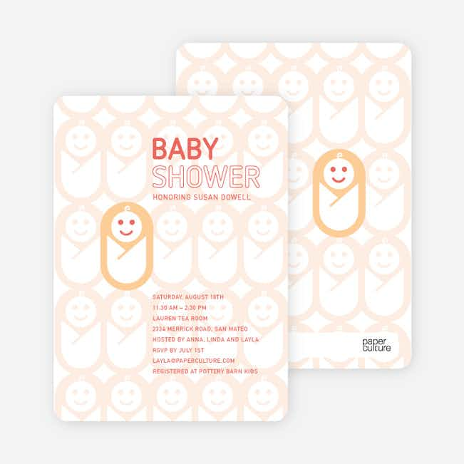Swaddle Me This Baby Shower Invitations - Apricot