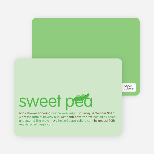 Sweet Pea Baby Shower Invitations Paper Culture