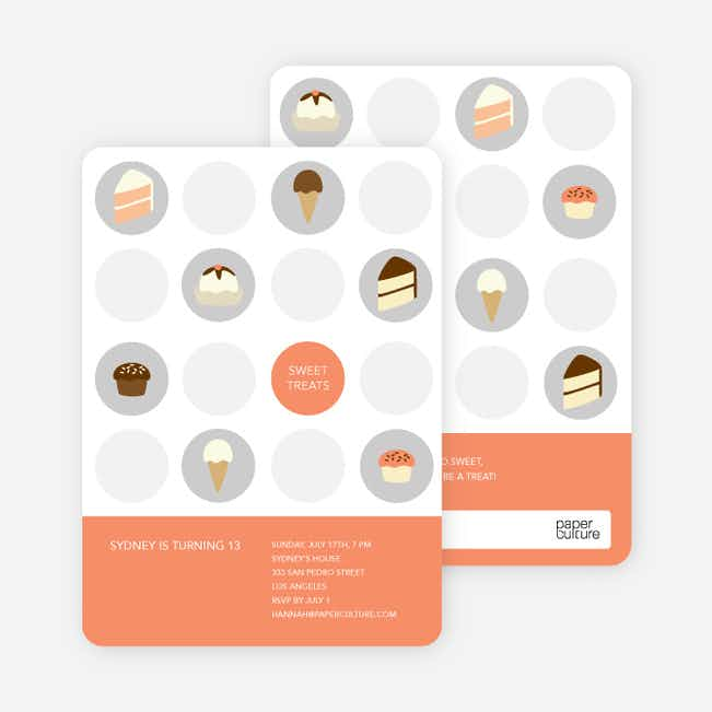 Tooth Decay Party Invitations: Ice Cream, Cupcakes and Cake - Papaya