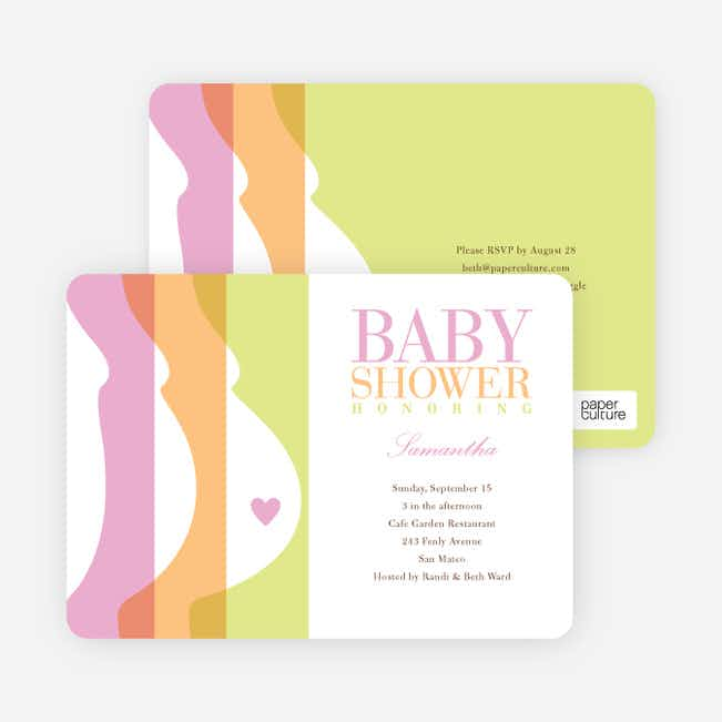 Tummy Love Baby Shower Invitations - Bubble Gum