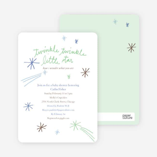 Twinkle, Little Star Baby Shower Invitations - Lime