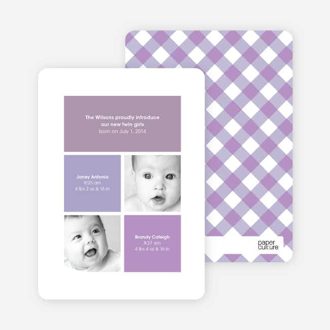 Ultra Modern Four Square Twin Birth Announcements - Lilac