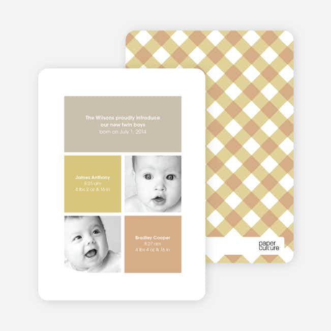 Ultra Modern Four Square Twin Birth Announcements - Mustard