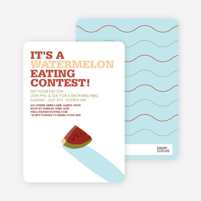 Watermelon Eating Contest Summer Party Invitations - Cherry