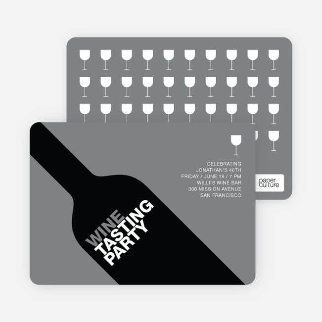 Wine Party Invitation - Grey