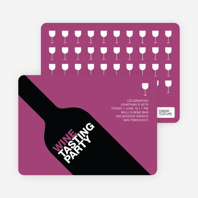 Wine Party Invitation - Magenta