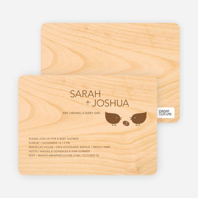 Wood block baby shower invitations paper culture natural invitations main filmwisefo