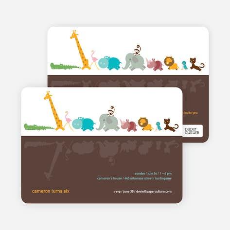 1st birthday invitations paper culture zoo parade modern birthday invitation rosy brown filmwisefo