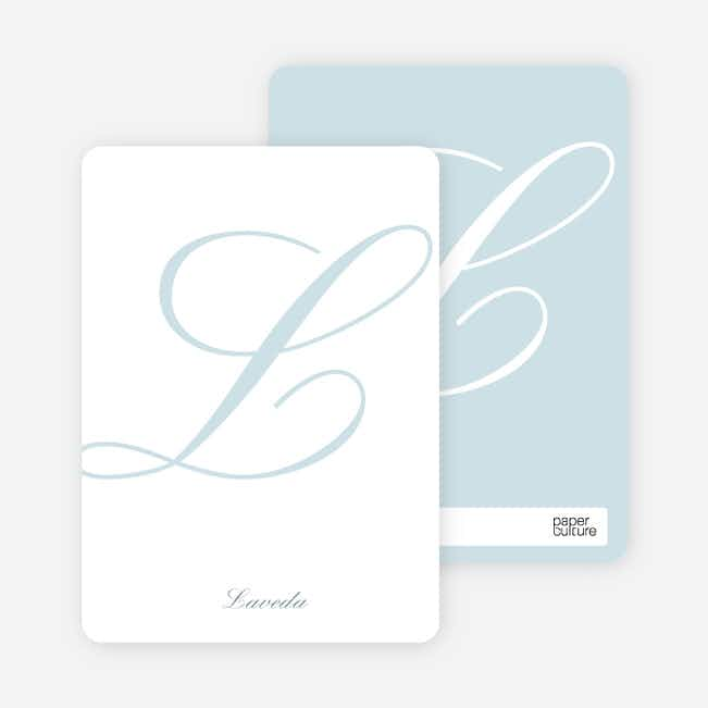 Elegant Letters Personalized Note Cards - Glacier