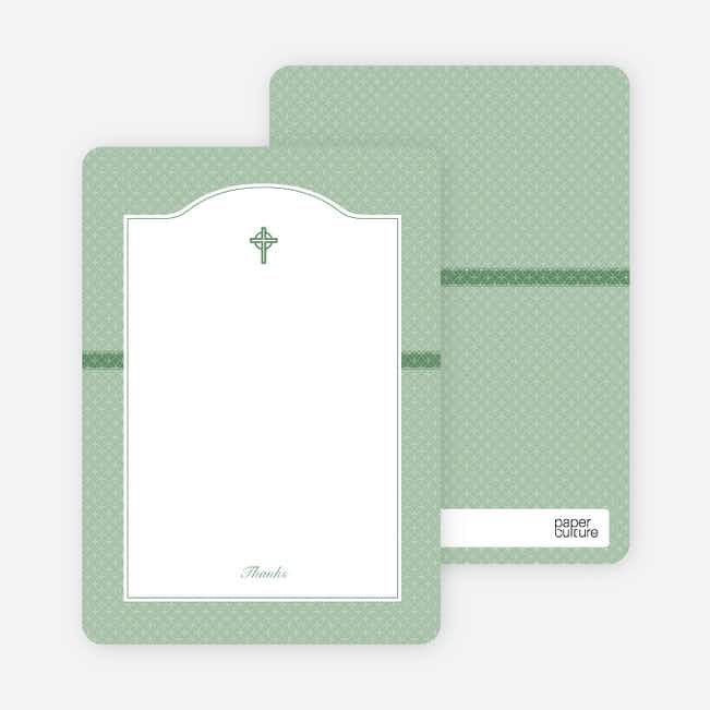 Note Cards: 'Truly Traditional Baptism Invitation' cards. - Green