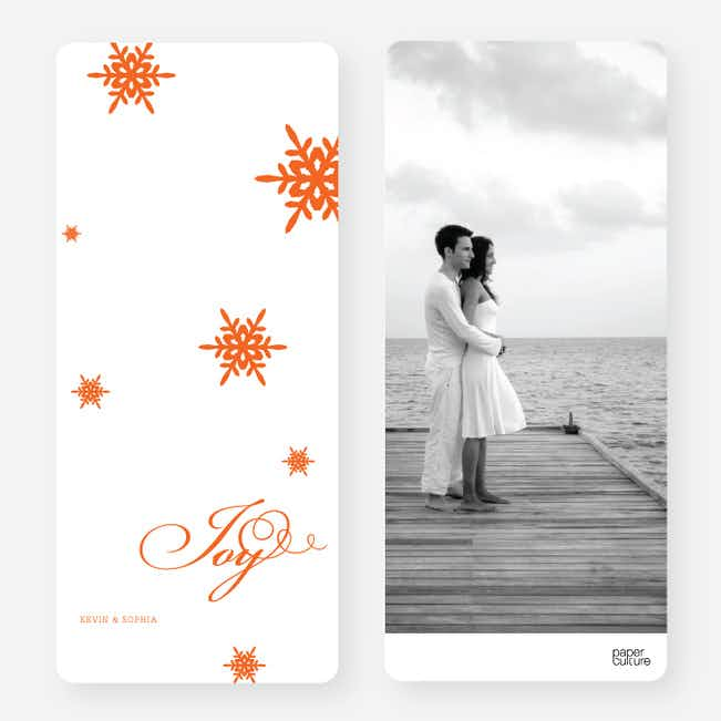 Falling Snowflakes Holiday Cards - Orange