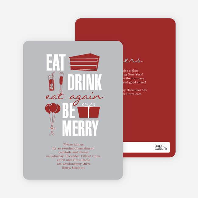 Eat. Drink. Eat Again. Be Merry Party Invitations - Gray