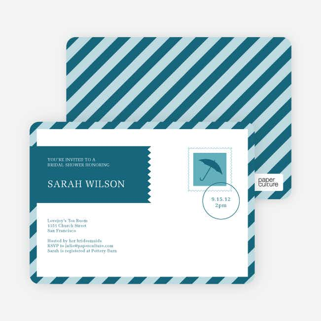 Postcard Wedding Shower Invitations - Blue